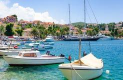 Красивая гавань в Cavtat, Далмации, Хорватии Стоковое Фото