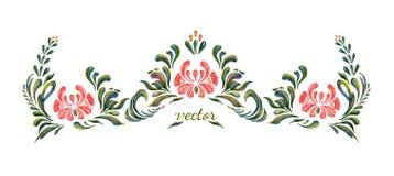 Красивая граница вектора с цветками в винтажном стиле Стоковое Фото