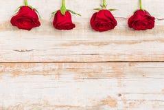 Красивая граница красных роз на деревенской древесине, романтичная предпосылка цветков для поздравительной открытки дня валентино Стоковое Изображение