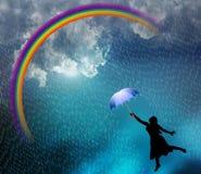 Beautiful lady enjoying in the rain. vector illustration, Стоковые Изображения