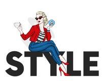 Красивая девушка в брюках и куртке сидит на стиле надписи также вектор иллюстрации притяжки corel одежда вспомогательного оборудо иллюстрация штока