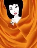 Красивая девушка в сложенной ткани стоковые фото