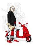Красивая девушка в стильном пальто, джинсах и ботинках Vector иллюстрация для открытки или плаката Мода и стиль, одежда Стоковые Изображения RF