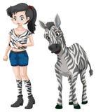Красивая девушка и милая зебра Стоковые Фото