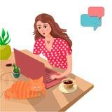 Красивая девушка на домашней таблице связывает с ее парнем онлайн Концепция онлайн датировка иллюстрация вектора