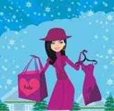 Красивая девушка на покупках зимы, карточка иллюстрация вектора