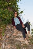 Красивая девушка на руинах стоковое фото rf