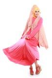 Красивая девушка нося розовый костюм мусульман стоковое изображение