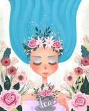 Красивая девушка при голубые волосы нося флористический венок и выпивая чай чашка чая с цветками и флористической предпосылкой иллюстрация штока