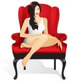 Красивая девушка сидя в красном стуле иллюстрация вектора