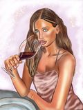 Красивая девушка с бокалом вина бесплатная иллюстрация