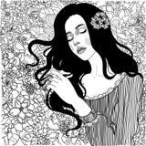 Красивая девушка с букетом полевых цветков иллюстрация штока