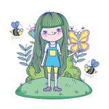 Красивая девушка с пчелами в характерах поля иллюстрация штока