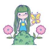 Красивая девушка с характерами бабочки иллюстрация штока
