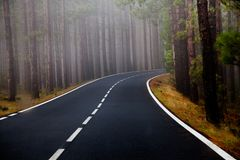 Красивая дорога горы в Тенерифе Концепция перемещения дороги Приключение автомобильного путешествия Стоковые Изображения