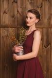 Красивая девушка в бургундском платье Стоковое Изображение