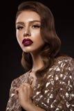 Красивая девушка в изображении Голливуда с волной и классическим составом Сторона красотки стоковые фото