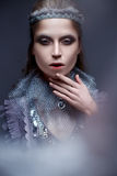 Красивая девушка в изображении холодного ферзя с заморозком на его бровях Модель с творческим составом и крона на его голове Стоковые Фото