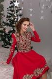 Красивая девушка в красном длинном платье на рождественской елке Стоковая Фотография RF