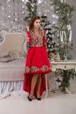 Красивая девушка в красном длинном платье на рождественской елке Стоковые Фото