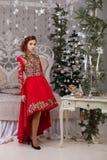 Красивая девушка в красном длинном платье на рождественской елке Стоковые Изображения RF
