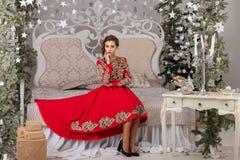 Красивая девушка в красном длинном платье на рождественской елке Стоковые Фотографии RF