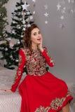 Красивая девушка в красном длинном платье на рождественской елке Стоковое фото RF