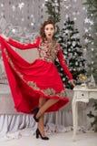 Красивая девушка в красном длинном платье на рождественской елке Стоковая Фотография