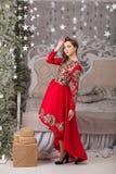 Красивая девушка в красном длинном платье на рождественской елке Стоковое Фото