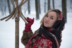 Красивая девушка в парке в зиме, девушка в меховой шыбе Стоковое Изображение