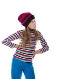 Красивая девушка в покрашенных striped шляпе и свитере Стоковые Фотографии RF