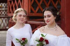 Красивая девушка 2 в старом платье Стоковая Фотография RF