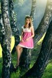 Красивая девушка в fairy лесе стоковые фото