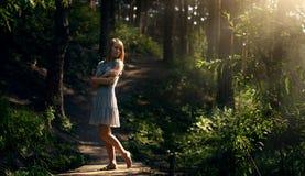 Красивая девушка в fairy лесе Стоковое фото RF
