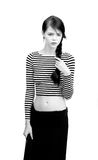 Красивая девушка в striped рубашке Стоковое Фото