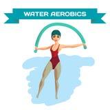 Красивая девушка делая аэробику Aqua иллюстрация вектора