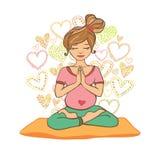 Красивая девушка делая пренатальную йогу Иллюстрация штока
