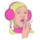 Красивая девушка использует губную помаду вектор стоковые изображения