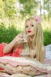 красивая девушка на пикнике в древесинах Стоковая Фотография RF