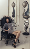 Красивая девушка дома стоковые фотографии rf