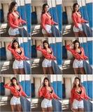 Красивая девушка при красная рубашка и белые шорты представляя в старой зале при покрашенная синь столбцов Привлекательное длинно Стоковые Изображения RF