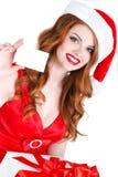 Красивая девушка снега с подарком и кредитными карточками Стоковые Фотографии RF