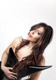 Красивая девушка с гитарой стоковые изображения rf