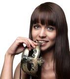 Красивая девушка с маской, портретом Стоковые Фото