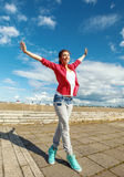 Красивая девушка танцев в движении Стоковая Фотография
