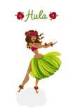 Красивая девушка - танцор hula бесплатная иллюстрация