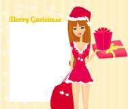 красивая девушка штыря-вверх в костюме воодушевленном рождеством бесплатная иллюстрация