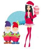 Красивая девушка штыря-вверх в рождестве воодушевила костюм и карликов бесплатная иллюстрация