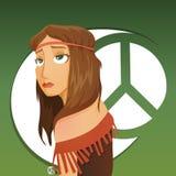 Красивая девушка hippie иллюстрация вектора