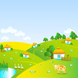 Красивая деревня с небольшими домами иллюстрация штока